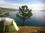 Our beautiful lake side campsite on the shores of Lake Baikal